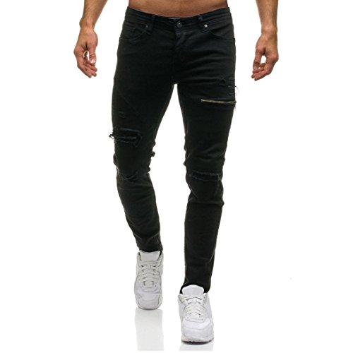 Rambling New Men's Skinny Denim Stylish Zipper Ripped Jeans Straight Hipster Gothic Pants