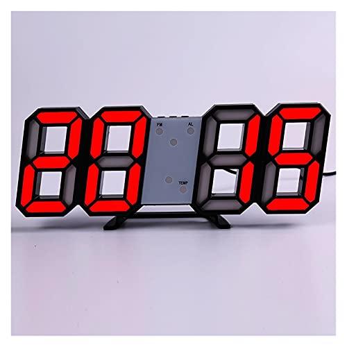 SPFCJL LED Digital Reloj de Pared Alarma Fecha Temperatura Automático Retroiluminación Mesa Mesa Desktop Decoración del hogar Soporte Soporte Relojes de suspensión (Color : Wall Clock 10)