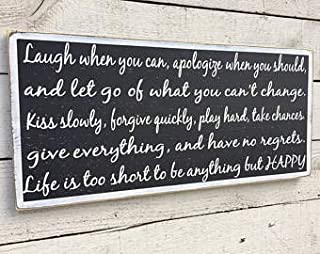 Emily Life Rules Word Sign Laugh When You Can Life is Too Short Let Go of What You Can Black and White Painted Wall Art Sayings Home Decor Wall Art Plaque Sign Presents