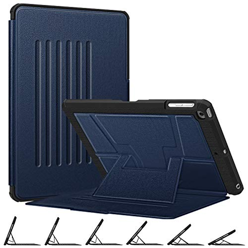 Fintie Magnetic Stand Case for iPad 9.7 2018 2017 / iPad Air 2 / iPad Air, [Multiple Secure Angles] Shockproof Rugged Soft TPU Back Cover with Auto Wake/Sleep, Navy
