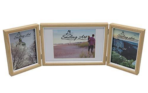 Smiling Art klappbarer Bilderrahmen für 3 Fotos in Querformat und Hochformat (Beige, 2x13x18 cm + 1x15x20 cm)