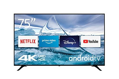 Nokia Smart TV 7500A 75  (189 cm), LED (4K Ultra HD, Dolby Vision, HDR10, Assistente Vocale, Triplo Tuner, DVB-C S2 T2), Android TV, Telecomando Bluetooth con Tasti lluminati