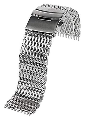 Lzpzz Banda de Reloj de Acero de Plata de 18 mm / 20 mm / 22 mm / 24 mm de Banda de Acero Inoxidable Tiburón de Malla de Malla Correa Pulsera (Size : 22mm)