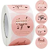 [Enough Quantity] -- Each roll has 500pcs pink thank you stickers with 4 designs, the quantity will meet your various demands. [Easy to Peel and Stick] -- These pink small business sticker labels are easy to peel and stick, just need to peel them and...