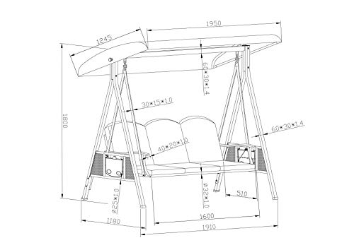 SORARA Luxus 3-sitzer Hollywoodschaukel | Braun | extra stabile Ausführung | Gartenschaukel Gartenliege Schaukelbank Gartenmöbel - 4