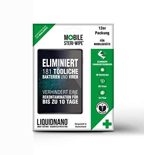 LiquidNano MOBILE STERI-WIPE, Desinfektionstücher für Handy & Touchscreen, desinfiziert für bis zu 10 Tage, beseitigt 99,9% der Krankheitserreger wie Bakterien, Viren & Pilze, 6er Pack