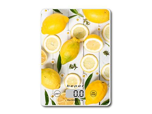 Beper BP.800-Balanza Electronica de Cocina, Digital, Placa de Vidrio Templado, Diseños Limones, Pantalla LCD, de 1g a 5kg, Gramos y Libras, Kitchen Scale, Amarillo y Blanco