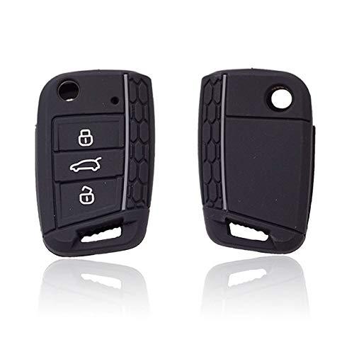 LOOIUEX Silicone Key Cover Cocolockey - Funda de Silicona para Llave de Coche, Apta para VW Golf 7 MK7, 3 Botones, abatible, Plegable, con Mando a Distancia, Funda para Llave, para Skoda, para Asien