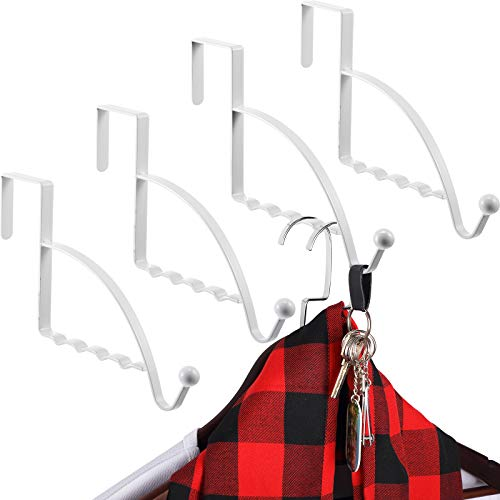 4 Pieces Over Door Hooks Hanger Multi Hanging Storage Organizers Valet Hooks for Coats Clothes Hoodies Hats Scarves Purses Keys Bath Towels Robes and More (White)