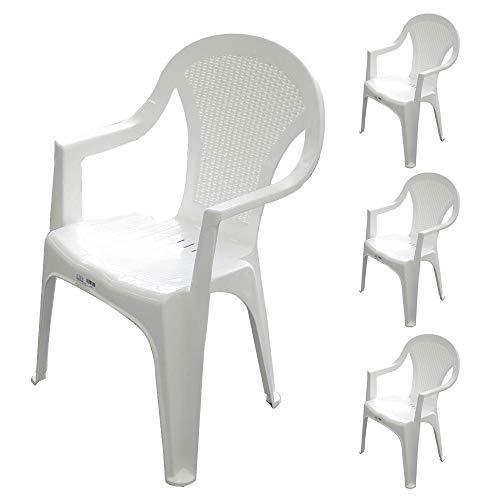 ガーデンチェアー コス チェアー 4脚セット(プラスチック 軽量 屋外 イス ラタン調 イタリア製)