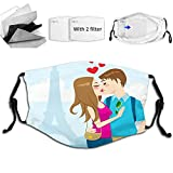 Fillter Cloth For Unisex Child Colorful Flourish,Young Tourist Couple Kissing Full of Love and The Eiffel Tower on The Background Reusable Windproof Cloth Half Face Double Protection