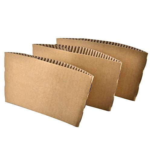 Aspire 100 Pcs Disposable Cup Sleeves Kraft Paper Coffee Cup Sleeve Jackets Holder for Hot Drinks 8 Ounce