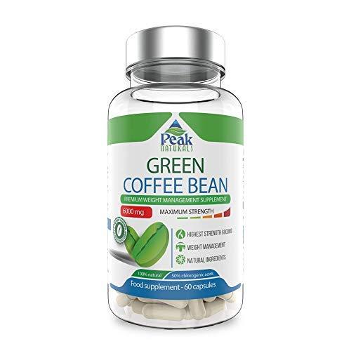 Peak Naturals #1 El grano de café verde más fuerte para perder peso★6000 mg de máxima potencia★50% de ácido clorogénico★Pierde peso