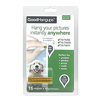 GoodHangups Damage Free Magnetic Poster and Picture Hangers Reusable Works on Any Wall As Seen On Shark Tank - 18kt Gold Plated Magnets -16 Pack