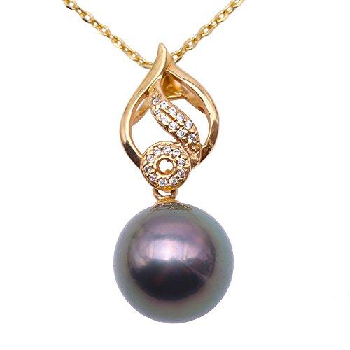 JYX Collar con colgante de perla tahitiana, oro de 18 quilates, negro, 11,5 mm, collar con colgante de perla cultivada en Tahití con puntos y diamantes