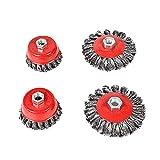 Cepillo de ollas, amoladora angular, cepillo de alambre, flexible, acero trenzado, diámetro de 75 mm, diámetro de 100 mm, M14 (4 unidades)