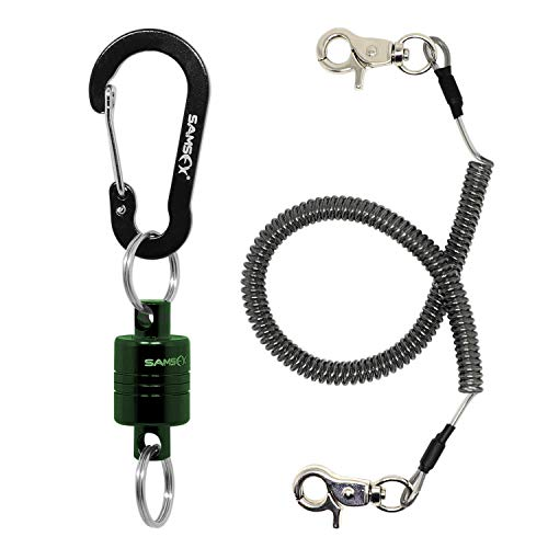 SAMSFX Fishing Strongest Magnetic Release Holder Aluminum Shell Magnet with Coiled Lanyard for Fly Fishing Landing Net (7.5lbs Green Magnet with Bungee)