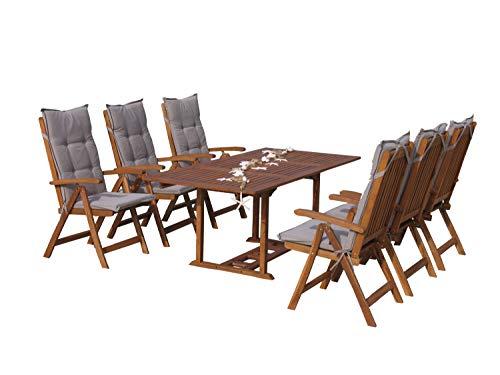 GRASEKAMP Qualität seit 1972 Garten Möbelgruppe Cuba 13tlg Sand mit ausziehbarem Tisch Essgruppe