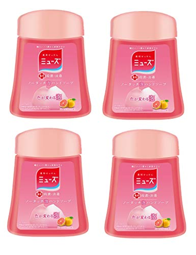 Japan Health and Beauty - Muse no-touch foam Hand Soap Refill Grapefruit 250ml ¡Á 4 pieces (about 1000 times) automatic dispenser sterilization moisturizingAF27