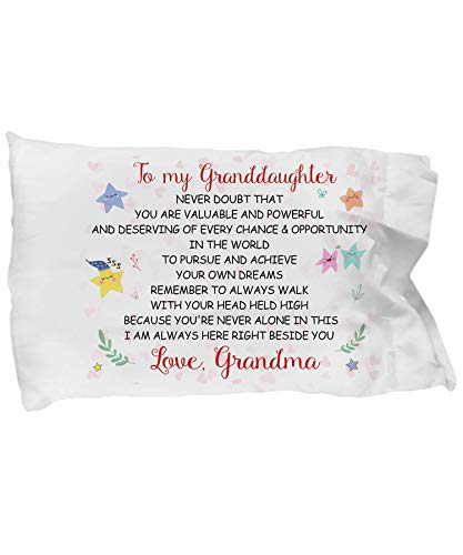 Best Gift to My Daughter - I Am Always Here Right Beside You - Love Grandma - Pillow Case - Surprise Gift for Your Granddaughter for Back to School Halloween Christmas