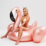 HNTKSM Cama Flotante, Colchoneta Hinchable Piscina Piscina Inflable Flotador natación círculo Rosa Oro Flamenco Piscina Fiesta Agua colchón Cama de Playa para Adultos (Color : Golden)