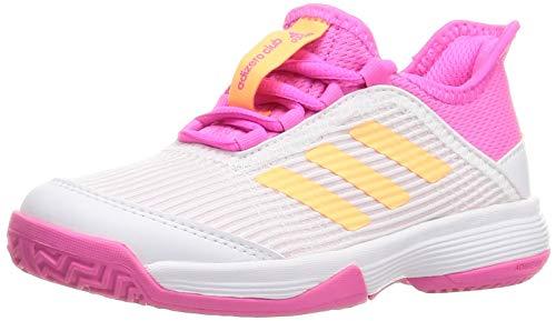 adidas Adizero Club K - Scarpe da Tennis Unisex per Bambini, 49,3 EU, Bianco, Arancione, Rosa (Ftwbla Naraci Roschi), 30.5 EU