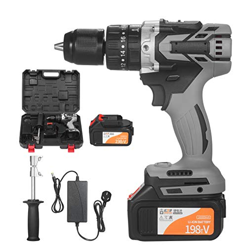 Kshzmoto 21V 4.0A Cordless Drill Driver Max Torque 200N.m 1/2 Inch Metal Keyless Chuck 20+3 Position 0-1550RMP Variable Speed Impact Hammer Drill Screwdriver With PlasticTool Box