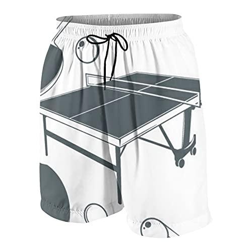 keiou Pantalones de Playa para Adolescentes,Mesa de Ping-Pong,Raqueta de Ping-Pong,Pelota de Ping-Pong S,Ropa de Playa Trajes de baño Shorts de Playa S