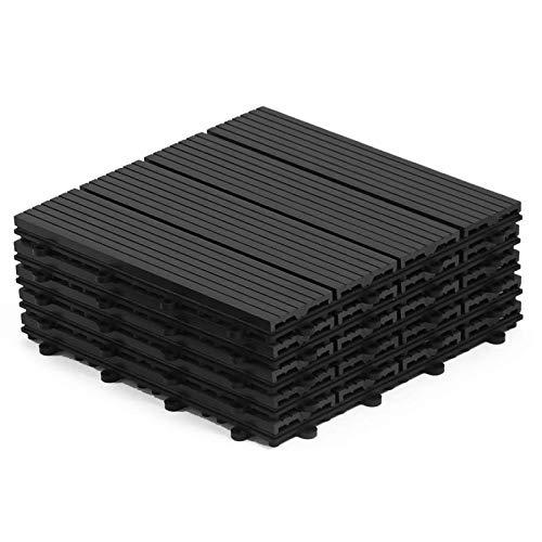 IDMarket - Dalles de terrasse X5 clipsables Bois Composite Noire