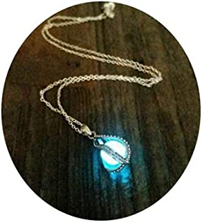 Glow in the Dark Dragon Egg, Mermaid Tear, Glowing Necklace, Glow in the Dark Tear Drop Necklace, Dainty Necklace, Blue Glow In the Dark