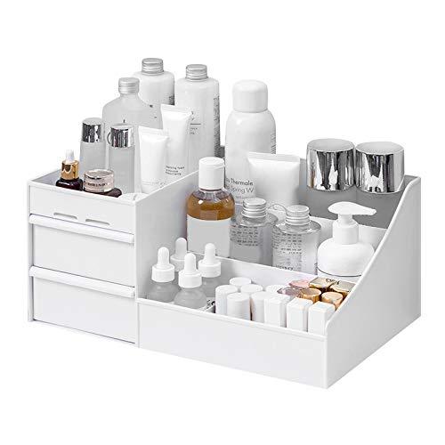 Miraitian - Organizer per trucchi, in plastica, con cassetti, scatola con cassetti per riporre gioielli, smalti, cosmetici , bianco, 25.2X15.4X11.5cm