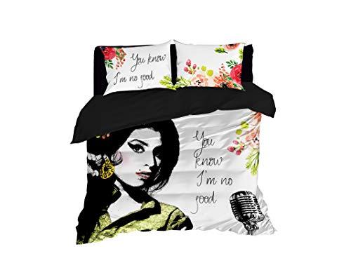 Cool Bedding Amy's No Good - Set di 4 o 3 pezzi Amy Winehouse, copripiumino o piumone, Amy Winehouse, set di biancheria da letto per fan di Amy Winehouse (172,7 x 221 cm $118)