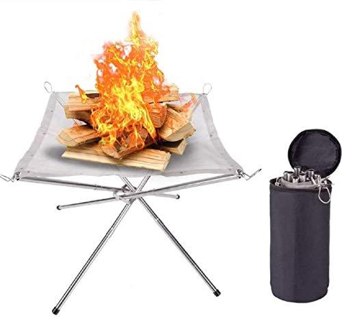 Outmoment Tragbare Feuerstelle, zusammenklappbarer Edelstahl-Mesh-Kamin für Terrasse, Außenbereich, mit Tragetasche für Camping, Hinterhof, Garten