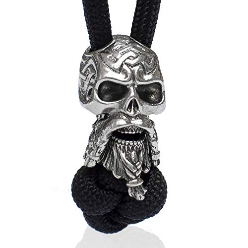 Handmade Paracord Beads and Charms - Metal Paracord Knife Lanyard Accessories - Beard Bead - Celtic Bearded Skull