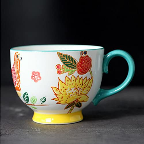 ZHIRCEKE Tazza da Viaggio isolata Tazza da caffè Tazza da caffè Vintage Tazza di caffè in Ceramica Colazione Tazza Mano Tazza di Fiori con Doppia Parete Isolamento Uccello Ciotole cereale,Giallo