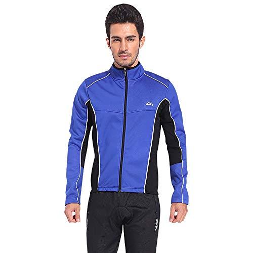 Yuyudou Heren Fietsjas, Winter/Herfst Lange Mouw Warm Winddichte Jas top + Gel Gevoerde Broek, Mountainbike Sportkleding