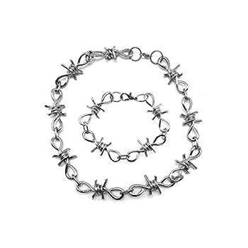 ballboU-1 Set Men s Punk Gothic Alloy Barbed Wire Brambles Necklace Bracelet