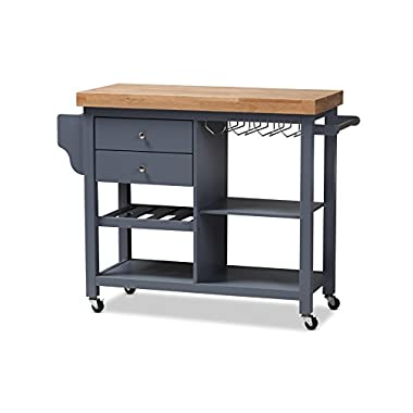 Baxton Studio 424-7948-AMZ Sunderland Coastal and Farmhouse Grey Wood Kitchen Cart, Grey/Natural