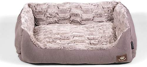 Hondenmand taupe grijs L zacht fleece 75x60cm