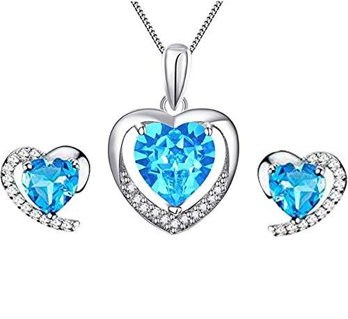 Sasavie-Conjuntos de Collar y Pendientes-Corazón Colgante-Plata de Ley-Cristal Azul-Circonita-Chapado en Oro Blanco-Regalo para Mujer