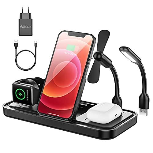 Cargador inalámbrico, 15 W, carga rápida inalámbrica 4 en 1, estación de carga inductiva para Apple Watch 5/4/3/2, iPhone 12/SE/11/X/XR/Xs Max/8, Airpods Pro/2 (con luz nocturna y mini ventilador).