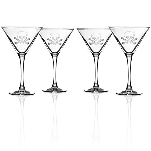 Rolf Glass Skull and Cross Bone Martini Glass - Set of 4 Stemmed 10 ounce Martini Glasses - Lead-Free Glass - Etched Cocktail Glasses - Made in the USA