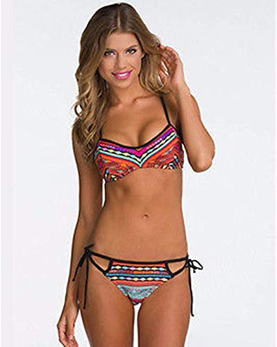 wangjian& Frauen mehrfarbige Stammes Impressionen Bandagen Push-Up Bikini-Set Mitte Taille Frauen Sommer Beachwear, M