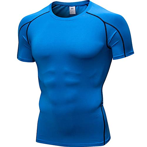 YLBH Sportarmes KurzäRmeliges Herren-T-Shirt SchweißAbsorbierendes Schnell Trocknendes Kompressionshemd Outdoor-Lauf-Fitness-Kurzarmhemd Baumwollmischung Kariert Sommer Freizeit Blau M