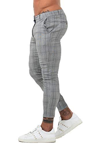 GINGTTO Mens Chinos Slim Fit Skate Pants for Men Stretch Slacks Skinny Grey 34