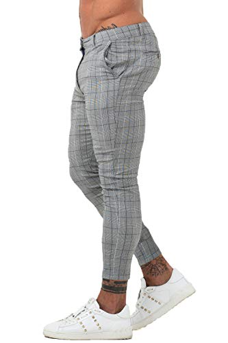 GINGTTO Men Chino Pants Slim Fit Casual Slacks for Men Skinny Twill Pants Grey Plaid 30