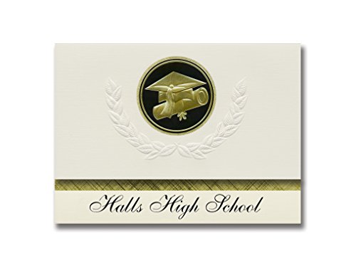 Signature Announcements Halls High School (Halls, TN) Graduation Announctions, Presidential Style, Basic Paket mit 25 Cap & Diplom Siegel Schwarz & Gold