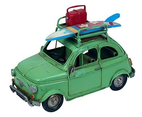 G&S Véhicule rétro de Style Italien : Fiat 500 Verte Vintage, L 20 cm