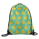 Etryrt Mochilas/Bolsas de Gimnasia,Bolsas de Cuerdas, Drawstring Gym Backpack Bag Yellow Duck Waterproof Bunch Backpack For Men and Women
