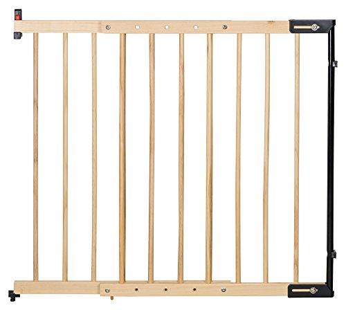 """Clamaro \""""KidsGuard V2 Holz Treppenschutzgitter verstellbar von 75,5 cm - 117 cm, universal Treppengitter aus Massivholz zur Wandmontage, inkl. Wand Montagematerial und Montageanleitung"""